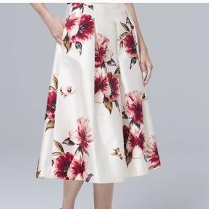 White house black market full floral midi skirt